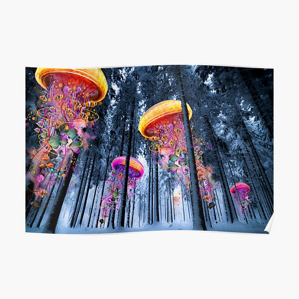 New Winter Forest of Electric Jellyfish Worlds  Poster