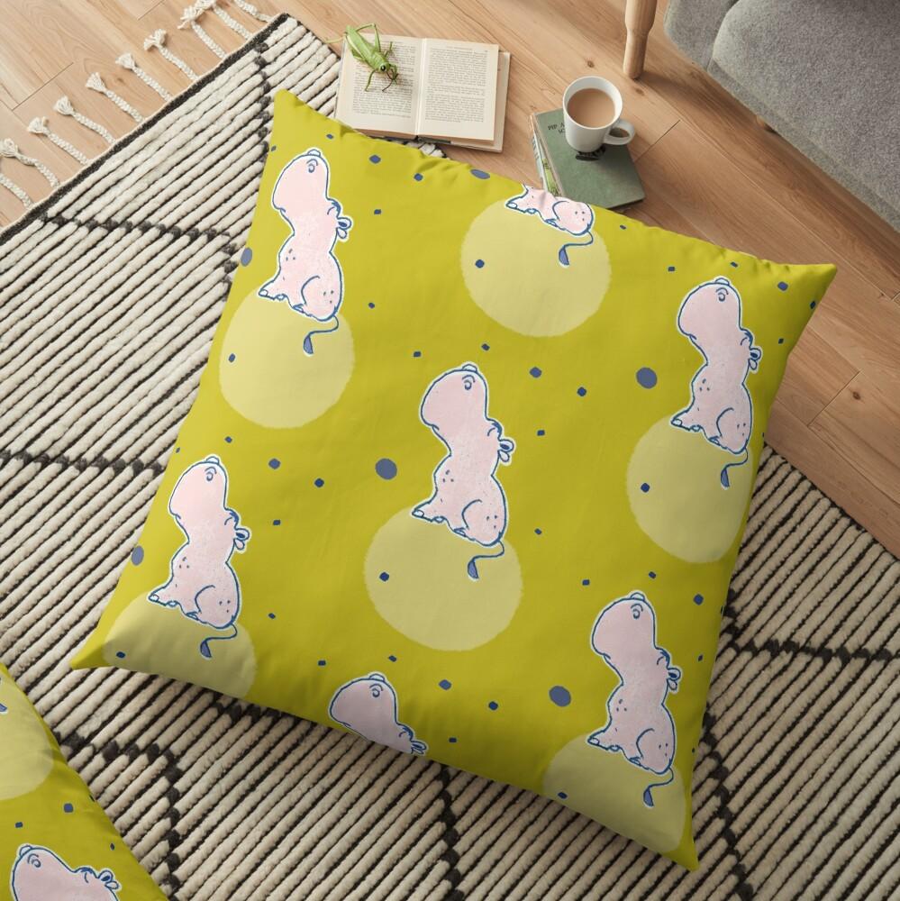 Nilpferd, Flusspferd - grün gemustert Bodenkissen