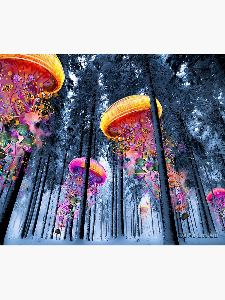 New Winter Forest of Electric Jellyfish Worlds  by DavidLoblaw