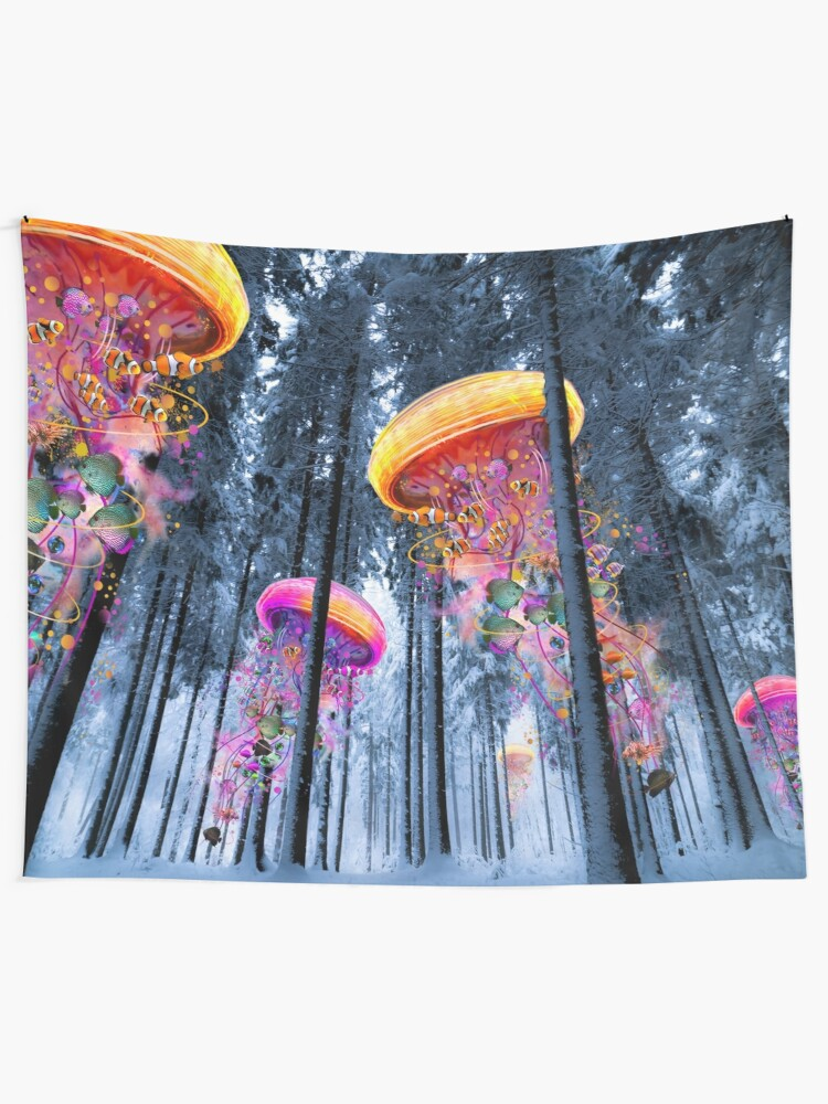 Alternate view of New Winter Forest of Electric Jellyfish Worlds  Tapestry