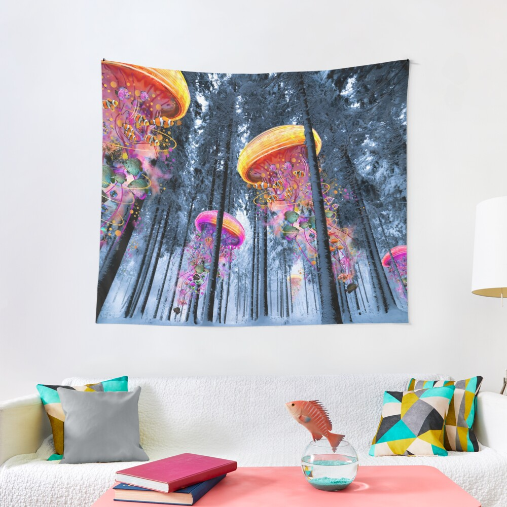 New Winter Forest of Electric Jellyfish Worlds  Tapestry