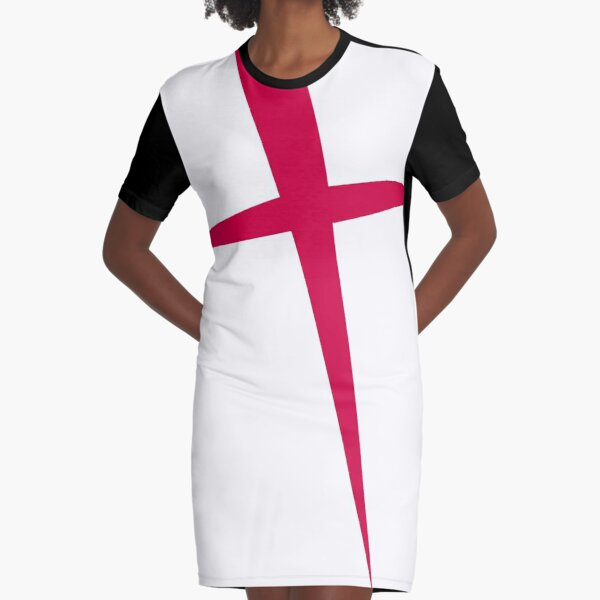 SHARP RED ENGLAND CROSS POINTED, BY SUBGIRL Graphic T-Shirt Dress