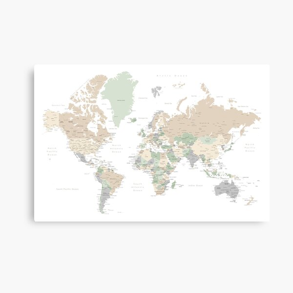 """Detailed world map with cities, """"Anouk"""" Canvas Print"""
