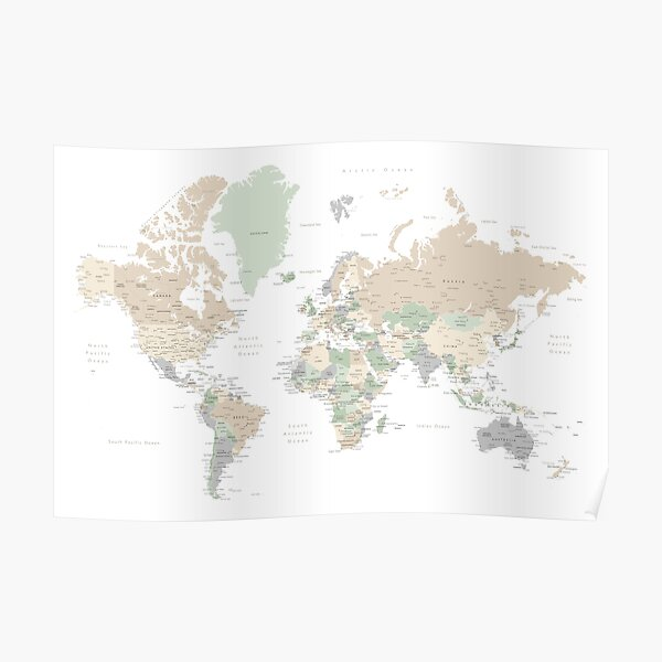 """Detailed world map with cities, """"Anouk"""" Poster"""