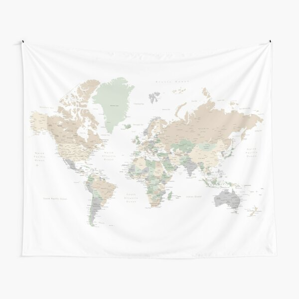 """Detailed world map with cities, """"Anouk"""" Tapestry"""
