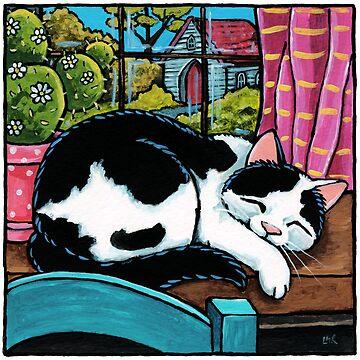 Sleeping Cat at Window by LisaMarieArt