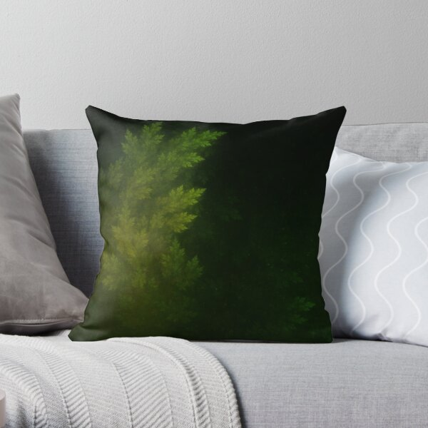 Beautiful Fractal Pines in the Misty Spring Night Throw Pillow