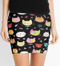 funny portraits of cats Mini Skirt