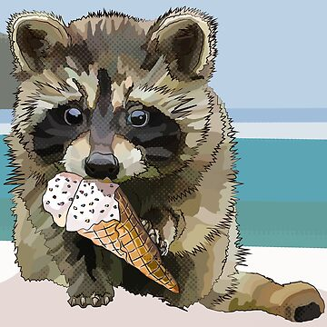 Raccoon Eating Ice Cream - Staying Cool this Summer Time * Raccoon Beach Vacation by BeeFoxTree