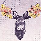 Flower Blossom Antlers Moose Head by oursunnycdays