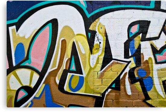 Abstract Graffiti on the textured brick wall by yurix