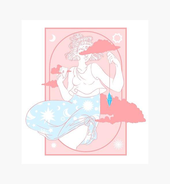 « Diseuse de fortune rose » par Alex-Hall-Shop