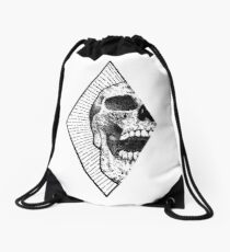 Geometric Skull design Drawstring Bag