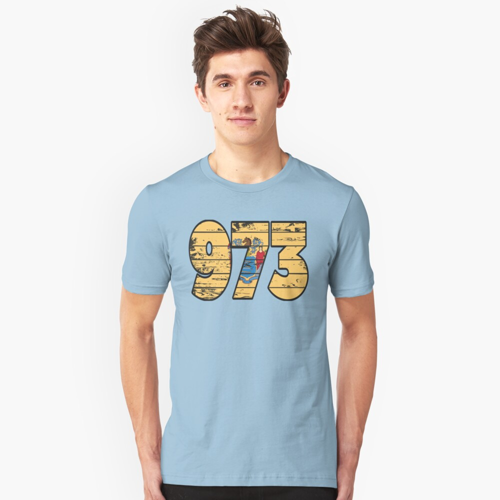 LOVE THAT  973 LIFE - YOUR FAVORITE AREA CODE WITH A HEAVY WOOD OVERLAY DISTRESS Unisex T-Shirt Front