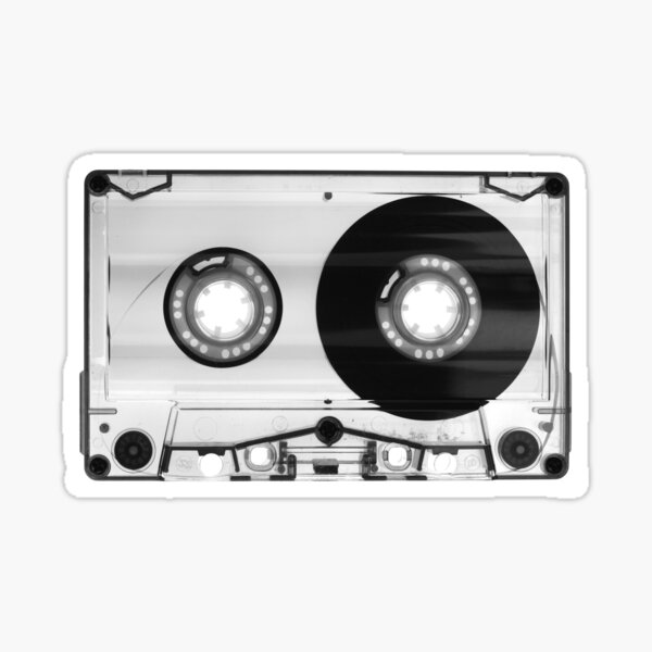 Retro 1980's Audio Cassette Vintage Eighties Technology Art Print Wall Decor in Black and White Sticker