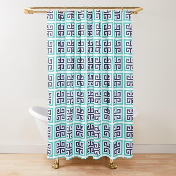 Blue Aqua Greek Key Pattern Shower Curtain