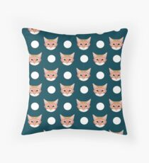 Orange Taby polka dots for cat lady cat lovers cat person gifts home decor with cat face cat meme Throw Pillow