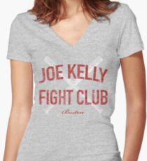 Distressed Red Sox Joe Kelly Fight Club Boston Baseball Fan Women's Fitted V-Neck T-Shirt