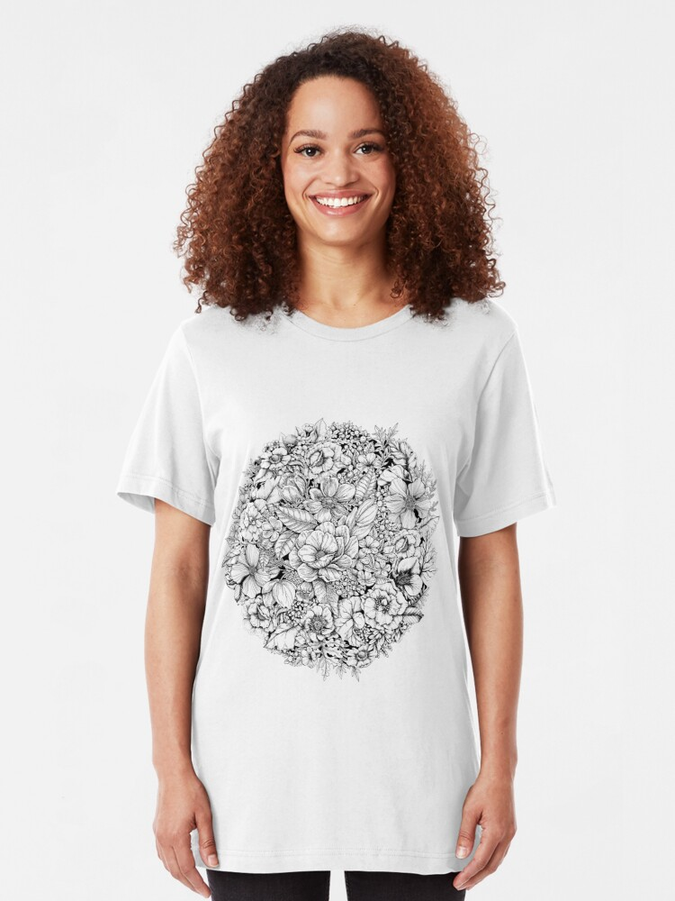 Alternate view of Floral Flower circle  Slim Fit T-Shirt