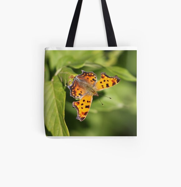 Grey Comma Butterfly All Over Print Tote Bag