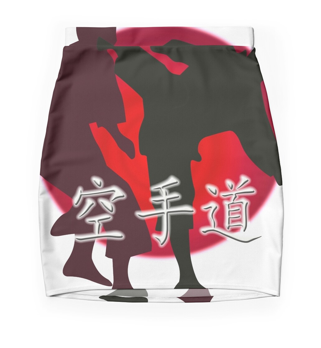 silhouette of a karate fight japanese flag in background