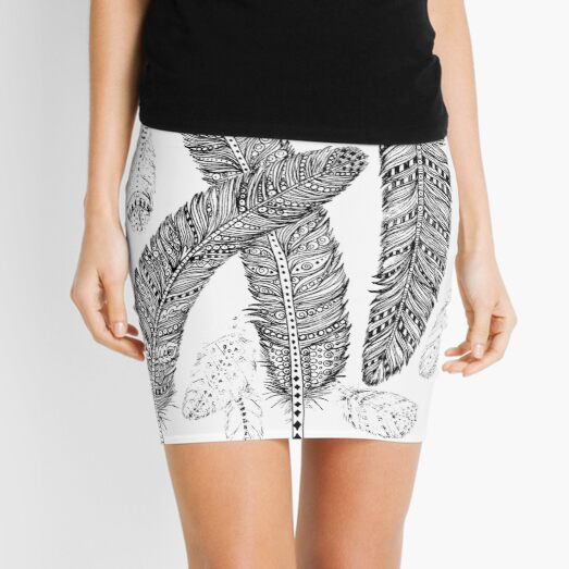 Black and Grey Feathers Mini Skirt