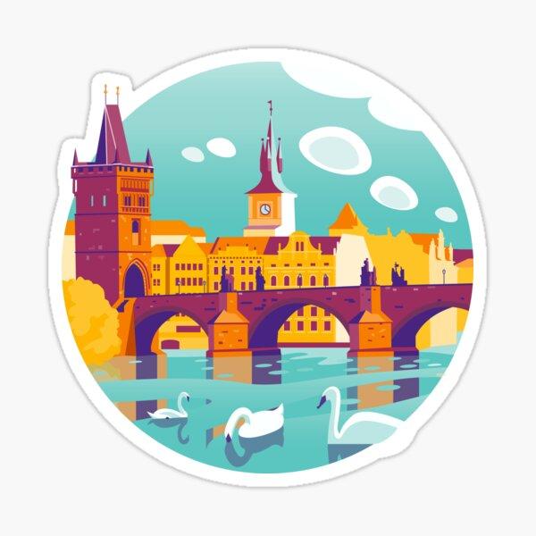 Prague and swans Sticker