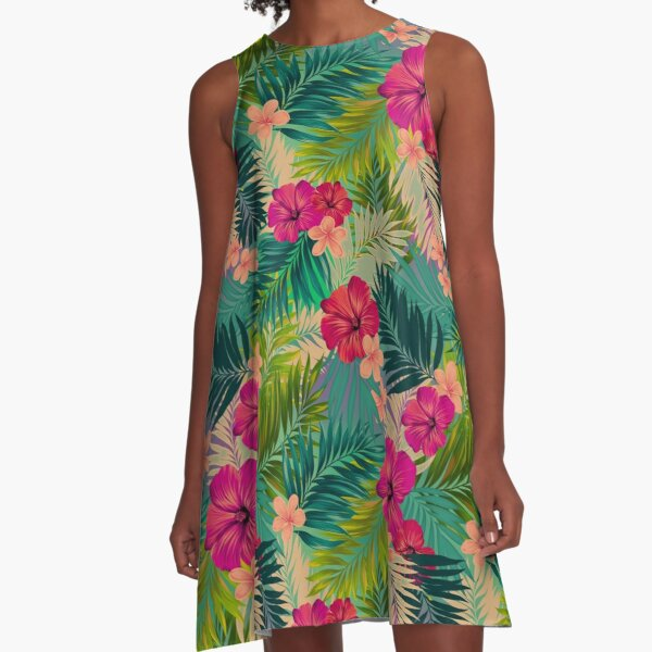 Sunset beach - hot summer tropical pattern A-Line Dress