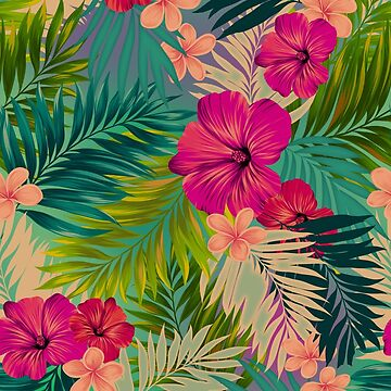 Sunset beach - hot summer tropical pattern by belokrinitski