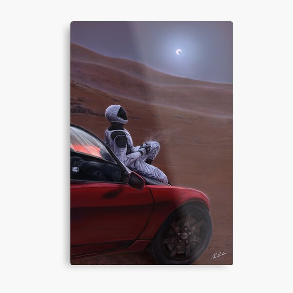 Red Car on the Red Planet Metal Print