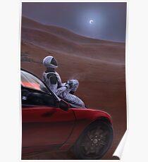 Rotes Auto auf dem roten Planeten Poster