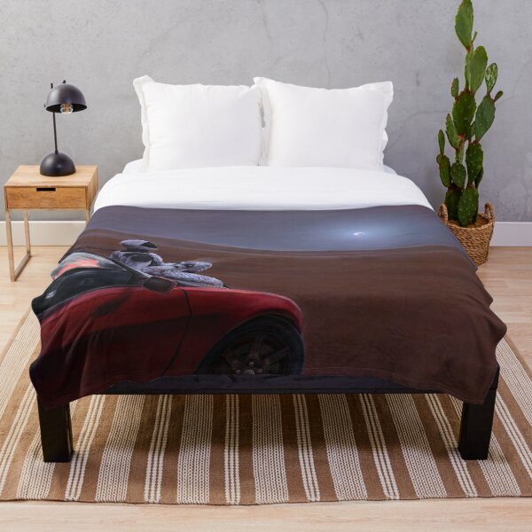Red Car on the Red Planet Throw Blanket