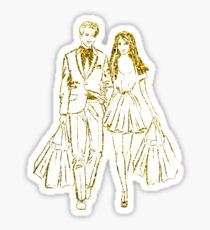 couple is shopping Sticker