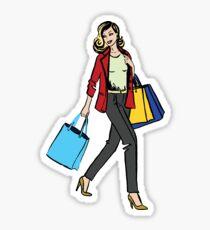 Woman on a Shopping tour Sticker
