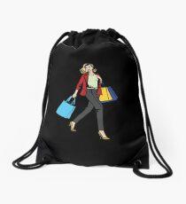 Woman on a Shopping tour Drawstring Bag