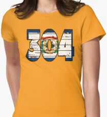 LOVE THAT  304 LIFE - YOUR FAVORITE AREA CODE WITH A HEAVY WOOD OVERLAY DISTRESS Women's Fitted T-Shirt