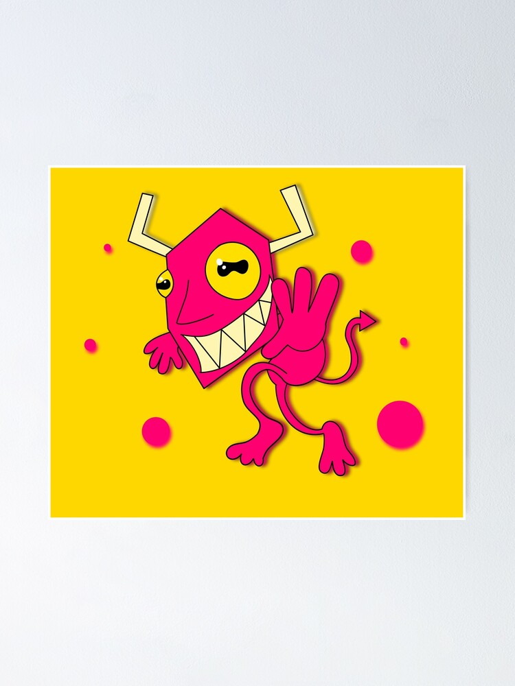 Cartoon Devil Slap Happy V3 Poster By Glewstik Redbubble