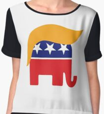 Donald Trump Hair GOP Elephant Logo ©TrumpCentral.org Chiffon Top