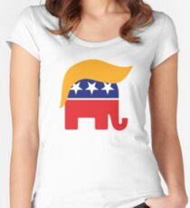 Donald Trump Hair GOP Elephant Logo ©TrumpCentral.org Women's Fitted Scoop T-Shirt