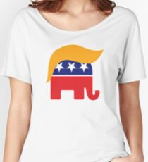 Donald Trump Hair GOP Elephant Logo ©TrumpCentral.org Women's Relaxed Fit T-Shirt