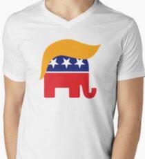 Donald Trump Hair GOP Elephant Logo ©TrumpCentral.org Men's V-Neck T-Shirt
