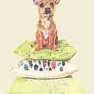 Chilli the Cushion Princess. Cute chihuahua puppy pencil and digital drawing by jaggedfin