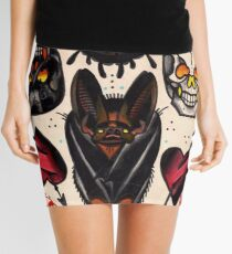 bat, skulls, hearts. old school tattoo flash Mini Skirt