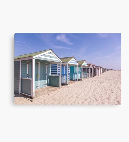 Pastel stripey beach hut love *1* Canvas Print