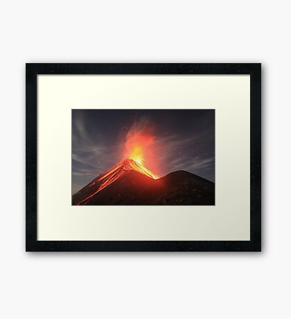 Fuego Erupts on a Moonlit Night Framed Print