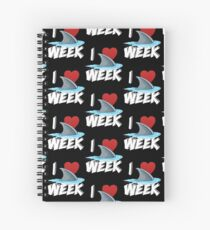 I Love The Week Of Sharks Cute Novelty Gift Idea For Shark Lovers Graphic Shark Fin Spiral Notebook