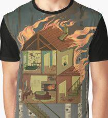 Haus in Flammen Grafik T-Shirt