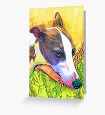 Whippet in Repose Pop Art Greeting Card