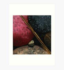 Rocks & Pine Needles -  painting Art Print