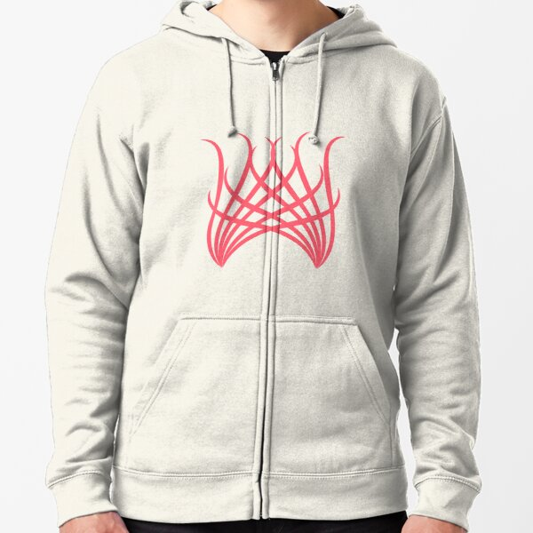 stylized coral red wings Zipped Hoodie